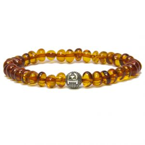 Custom Design Cognac Color Amber Bracelet with Silver Letter