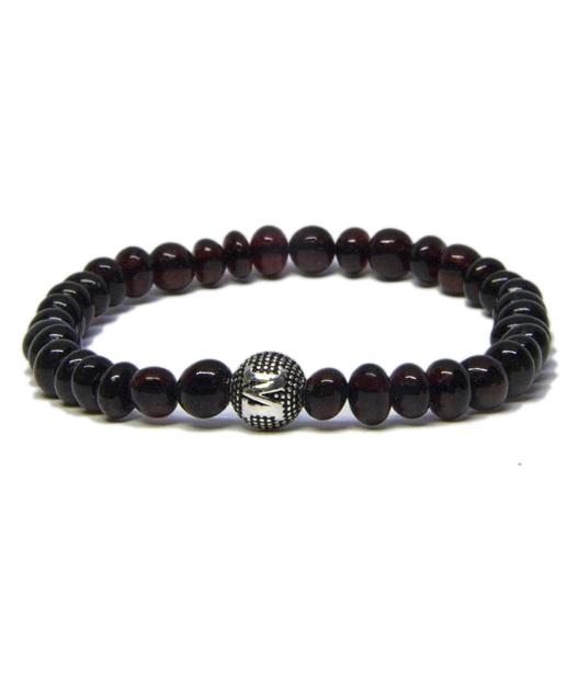 Custom Design Cherry Color Amber Bracelet with Silver Letter