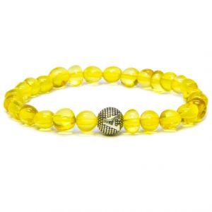 Custom Design Honey Color Amber Bracelet with Silver Letter