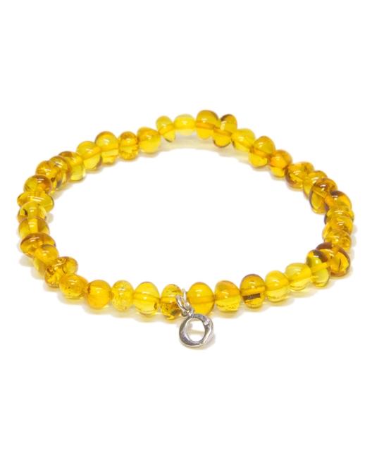 Custom Design Honey Color Amber Bracelet with Drop Silver Letter