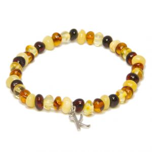 Custom Design Multicolor Amber Bracelet with Drop Silver Letter