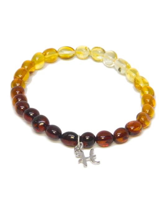 Custom Design Rainbow Color Amber Bracelet with Drop Silver Letter