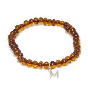Custom Design Cognac Color Amber Bracelet with Drop Silver Letter