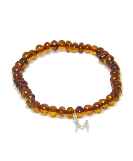 Custom Design Cognac Color Amber Bracelet with Drop Silver Letter
