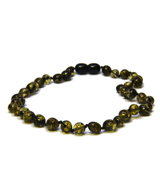 Darq Green Color Amber Necklace