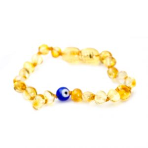 Honey Color Evil Eye Amber Bracelet