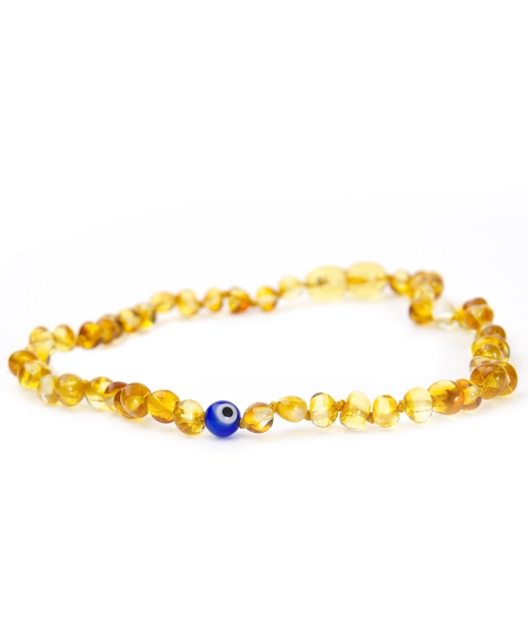 Honey Color with Evil Eye Amber Necklace