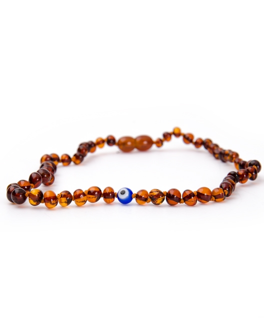 Cognac Color With Evil Eye Amber Necklace