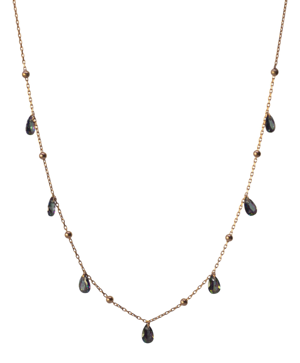 Anthracite Zircon with Balls Silver Necklace