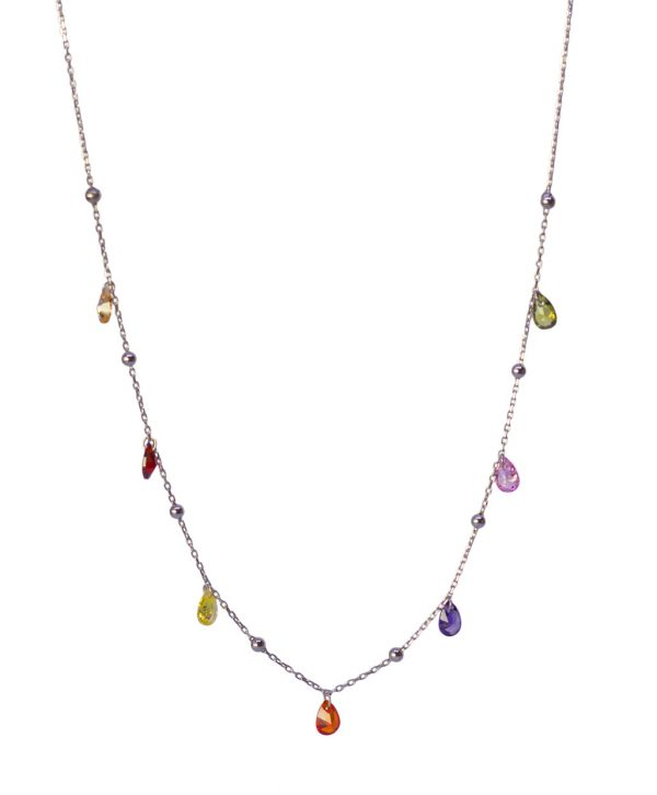 Colorful Zircon with Ball Silver Necklace
