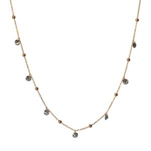 Black Zircon Ball Silver Necklace