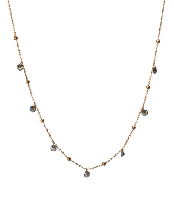 Black Zircon Ball Silver Necklace