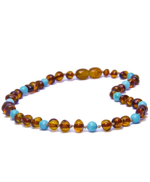 Turquois Cognac Color Amber Necklace