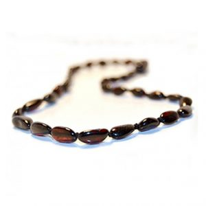 Cherry Color Olive Shape Amber Necklace