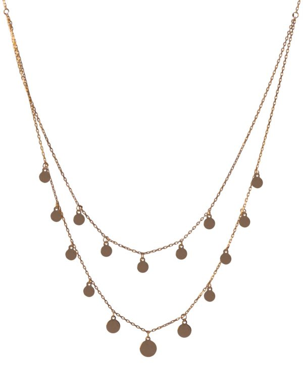 Two Lines Round Flake Silver Necklace