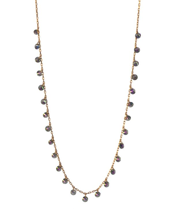 Anthracite Color Zircon Silver Necklace