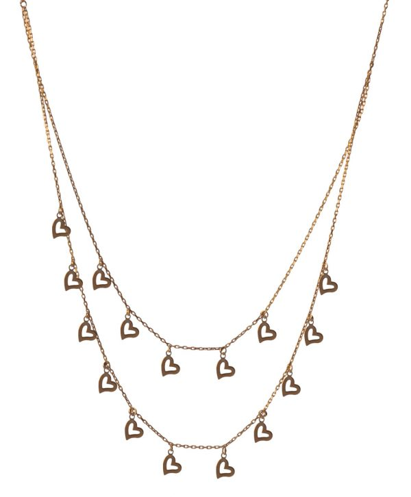 Two Lines Hearth Silver Necklace