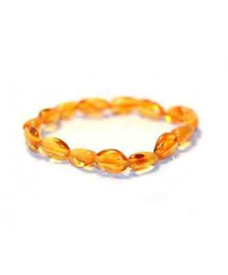 Honey Color Olive Shape Amber Bracelet