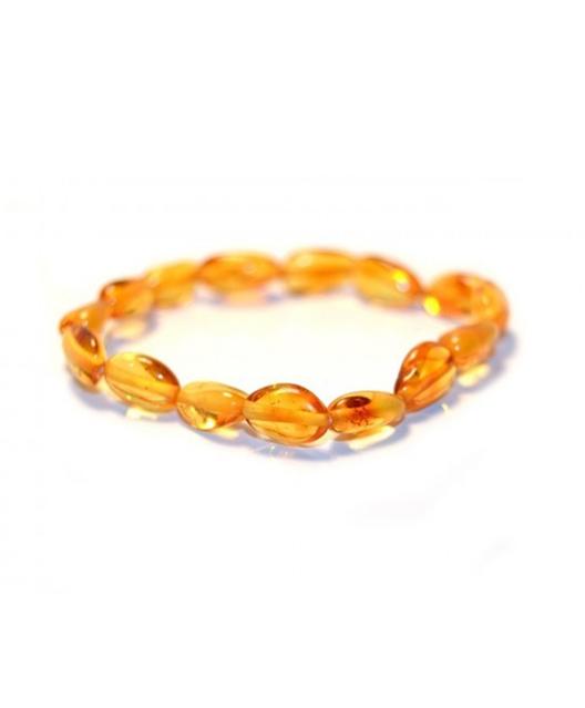 Honey Color Olive Shape Amber Bracelet