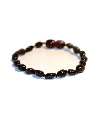 Cherry Color Olive Shape Amber Bracelet