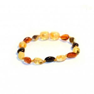 Multi Color Olive Shape Amber Bracelet